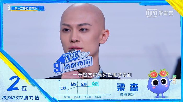 Youth With You 3 Trainee, Liang Sen, in Tears as He Reveals Reason for Being Bald